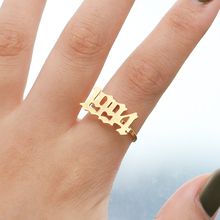 Number Rings For Women Custom Gold Ring Men Anillo Mujer Fashion Year 1994 1995 1996 1997 1998 1999 Old English Font