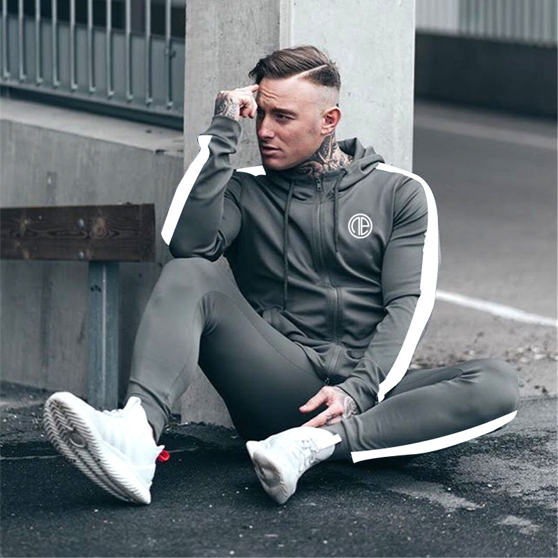 Muscle Men Autumn & Winter New Style Sports Fitness Suit Casual Long Sleeve Running Hooded Pullover Hoody Training Suit