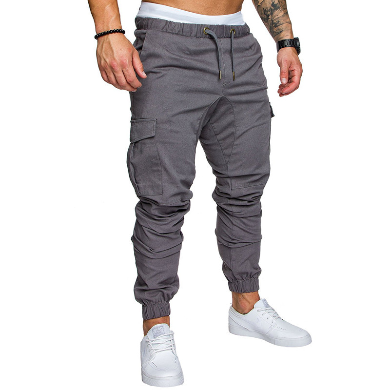 20196-Color Workwear Multi-pockets Trousers Men Woven Fabric Casual Pants Ankle Banded Pants