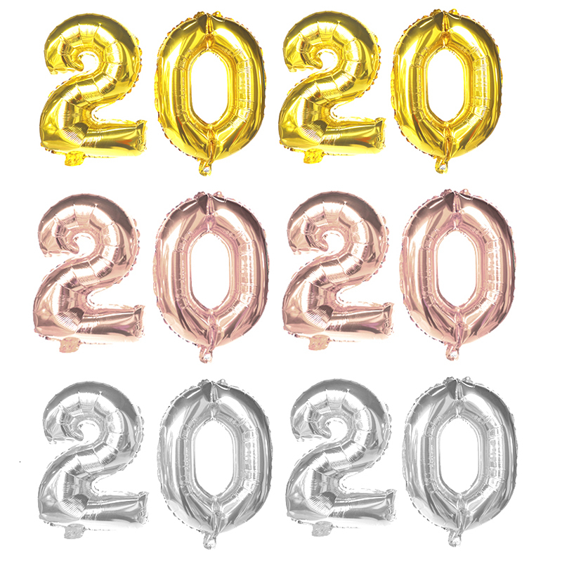 Christmas Tree Number 2020 Foil Balloons Rose Gold Happy New Year Party Decor
