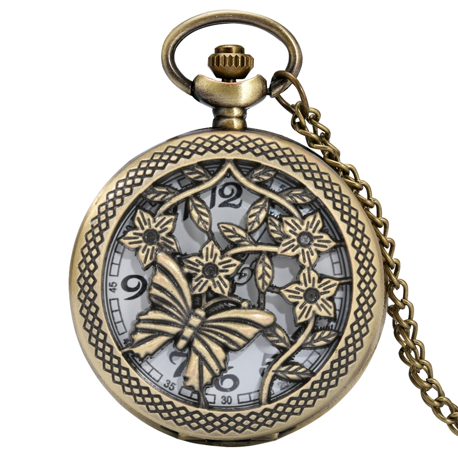 Antique Hollow Butterfly Flowers Floral Rattan Quartz Pocket Watch Old Fashion Sweater Necklace Chain Pendant Gift for Men Women
