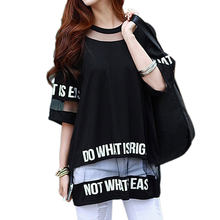 2019 Big Size T Shirt Women Summer Tops Half Sleeve White Hollow Out Letter Printed Long Mesh Tops Female Social T-Shirt Tees(China)