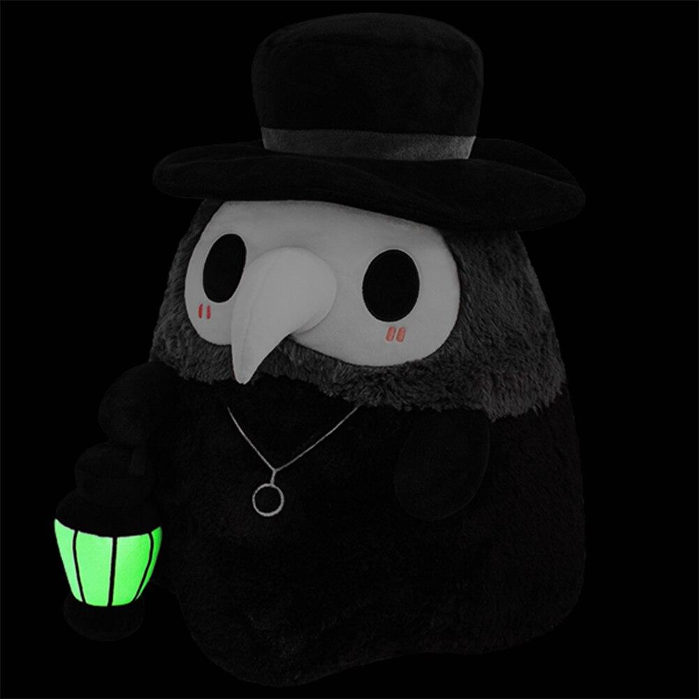 Lumineux 20cm dessin animé animal peste médecin bec en peluche jouet Halloween bec docteur fête accessoires de bal lumineux en peluche cadeau