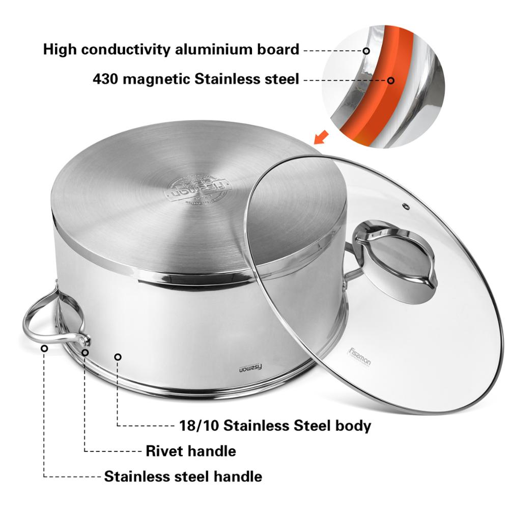 Image 4 - FISSMAN BARAKAT Series 304 Stainless Steel Mantou Stock Pot with 3 Steamer Inserts and Glass LidSoup & Stock Pots   -