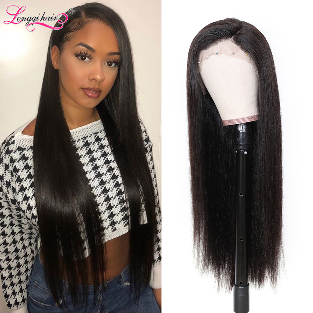 Longqi Hair 13x4 13x6 Lace Front Wig Remy Human Hair Wigs Straight Lace Front Wig Natural Preplucked Lace Wig for Black Women