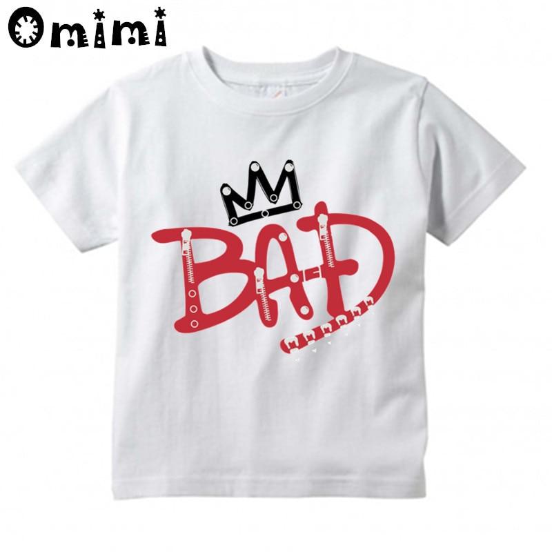 Kids Rock N Roll Star Michael Jackson Bad Design T-Shirts Music Children's Tops Boys/Girls Rock T Shirt