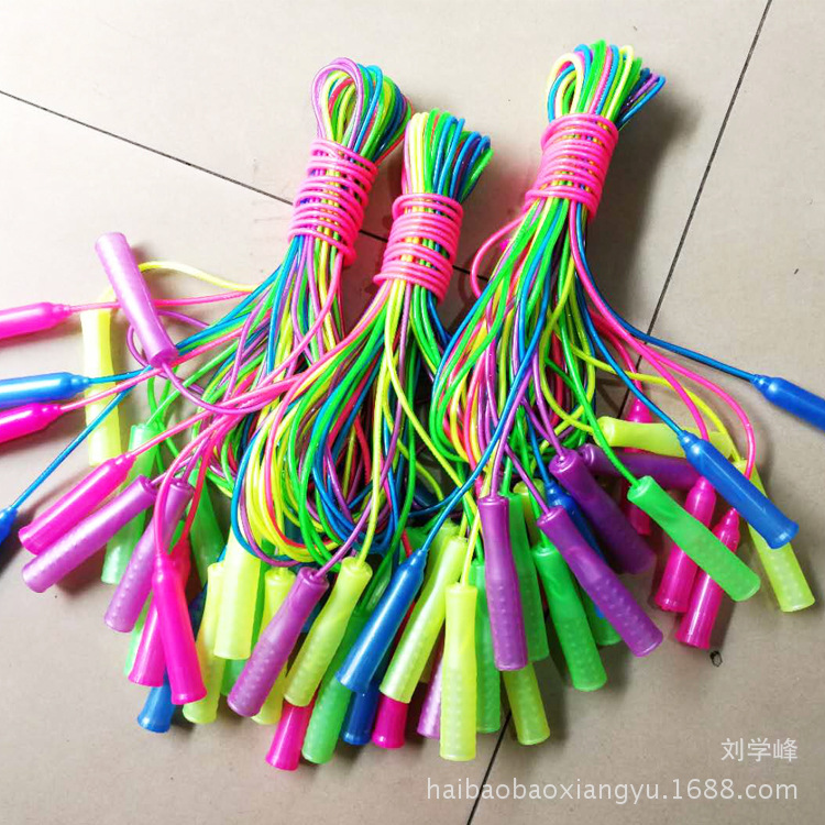 Color Plastic Skipping Rope Kindergarten Young STUDENT'S Outdoor Toy Sports Supplies Prizes Jump Rope