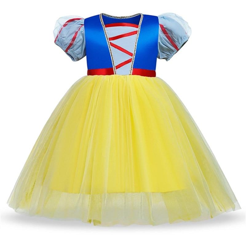 Fancy Snow White Princess Dress Christmas Costume Halloween Cosplay Dress up Baby Girl Clothes Birthday Party Kids tutu Dress 4