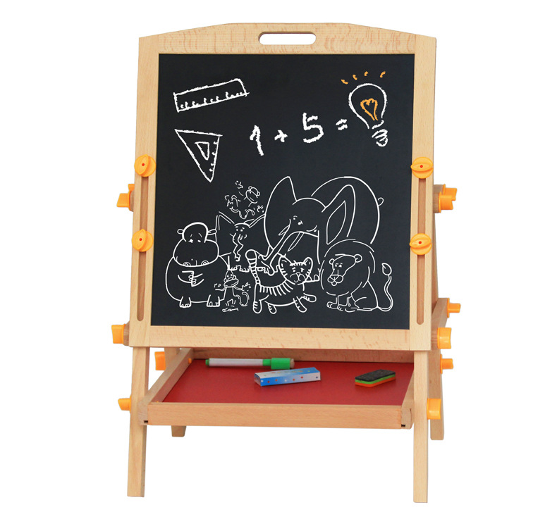 Weiwei Wooden Plays Children Magnetic Double-Sided Sketchpad Easel Set Holder Lift Doing Homework Drawing Board Blackboard Toy