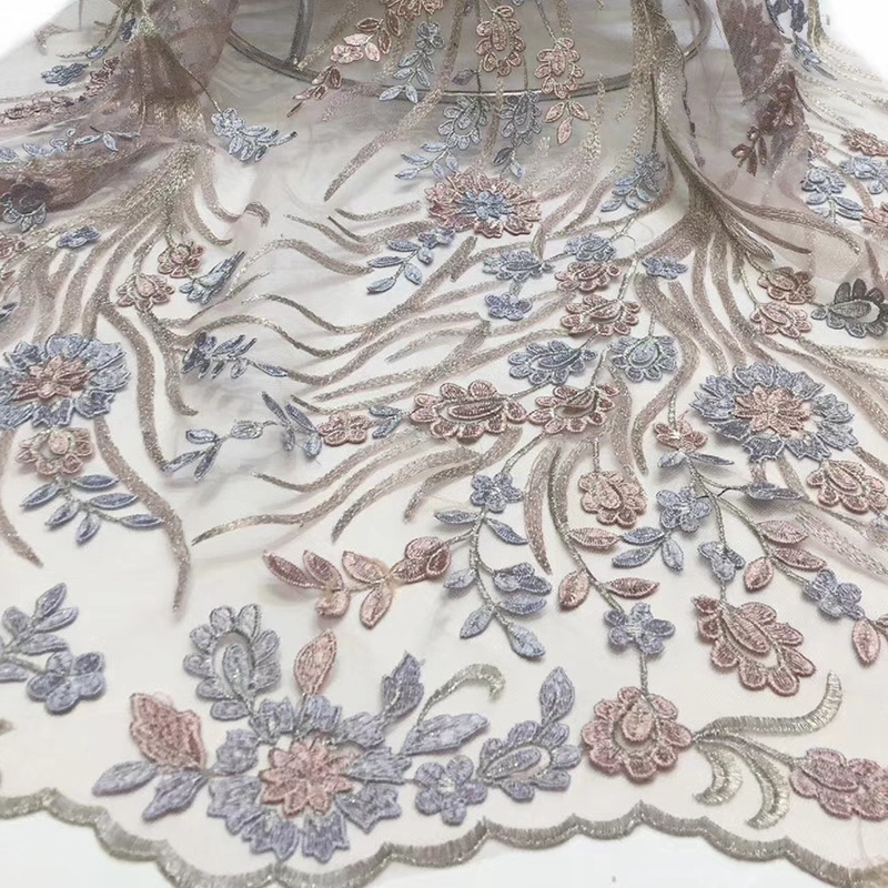 2020 Beautiful African Lace Fabric Wonderful Floral Embroidered Sewing Tissus 5 Yards\Lot