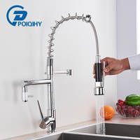 POIQIHY Chrome Kitchen Faucet Black Pull Down 360 Rotation Spring Kitchen Sink Faucets