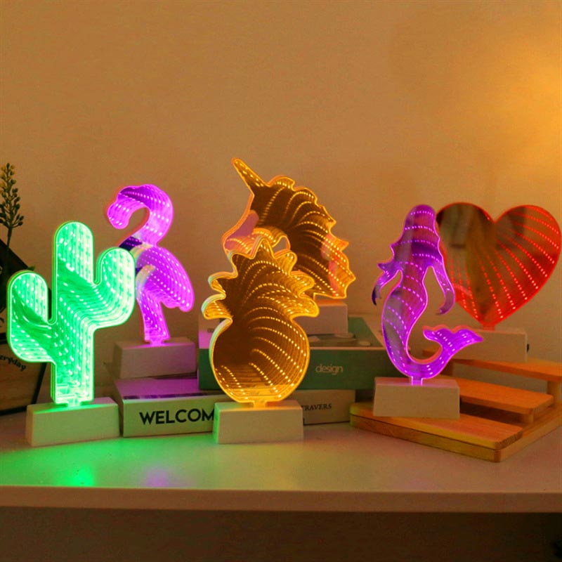Battery 3D Creative Novelty Lamps Star Moon Infinity Tunnel Light For Kid Children LED Mirror Night Light Cute Heart Home Decor