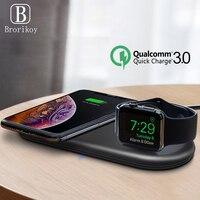 Carregador sem fio relógio de pulso carregador 2 w para apple iwatch 5 4 3 2 1 suporte mesa carregamento sem fio para iphone 11 x samsung s10 nota 10|Carregadores sem Fio| |  -