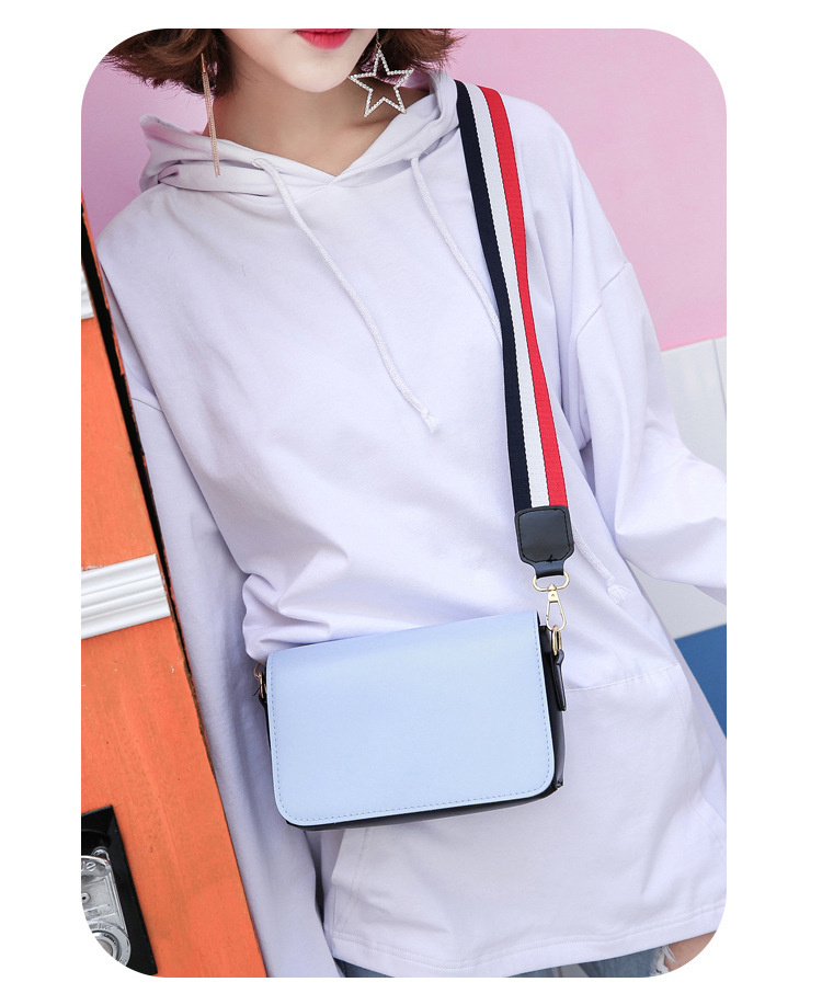 New Wave Female Bag Hong Kong Style Wide Shoulder Strap Messenger Bag Harajuku Style Shoulder Bag Simple Small Square Bag