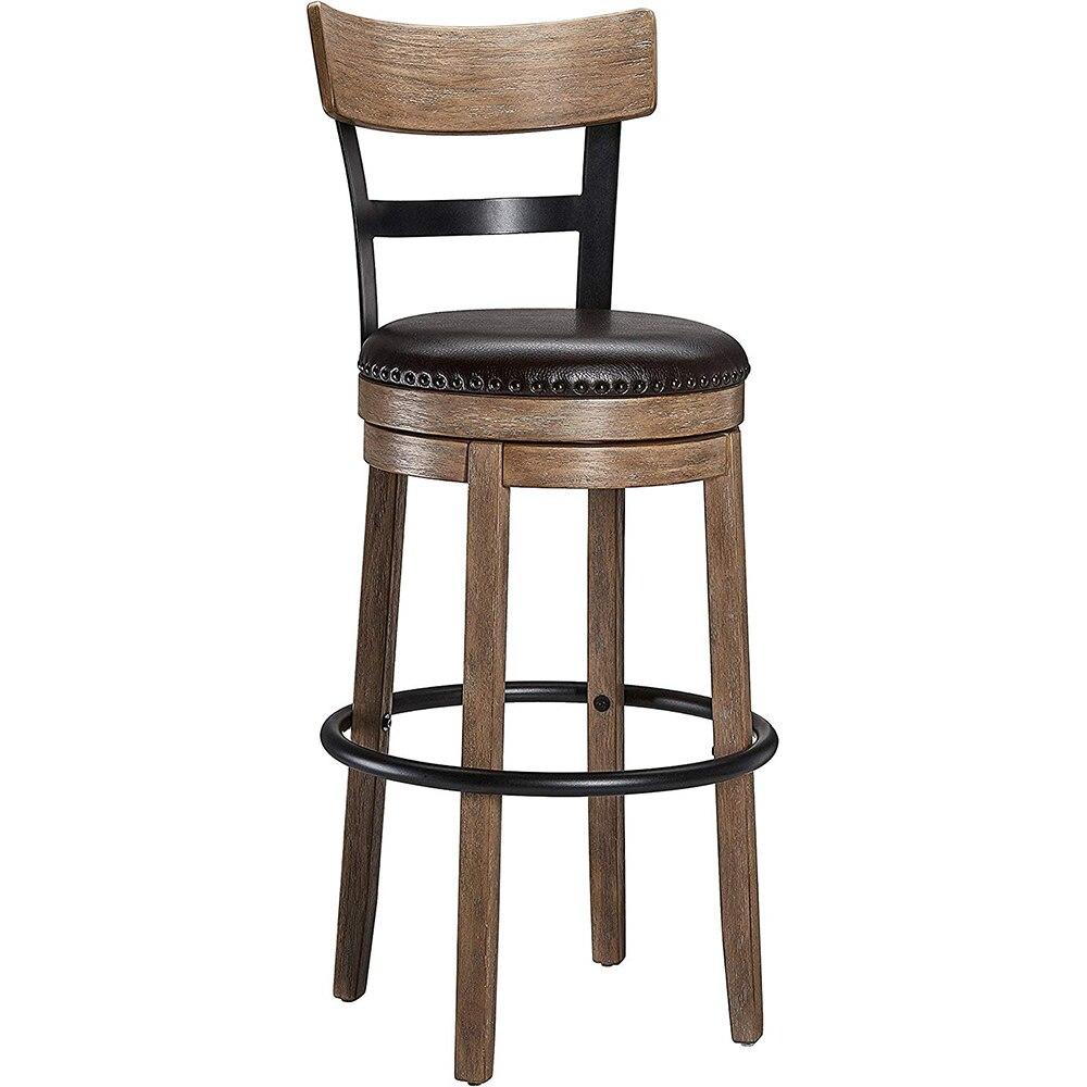 Вращающийся барный стул твердая древесина назад барный стул высокий стул кожаный поворотный барный стул домашний барный стул