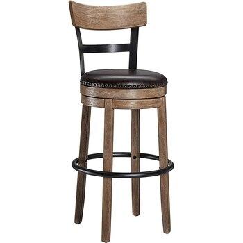 Вращающийся барный стул твердая древесина назад барный стул высокий стул кожаный поворотный барный стул домашний барный стул фото