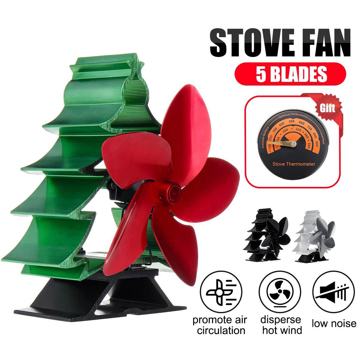 180-250CFM 5 Blade Heat Fireplace Fan Stove Fan Powered Stove Fan Eco Friendly Quiet Fan Heat Distribution Fuel Saving With Gift
