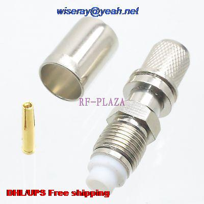 DHL/EMS 200pcs Connector FME Female Jack Crimp RG5 RG6 LMR300 RG304 Cable Straight -A3