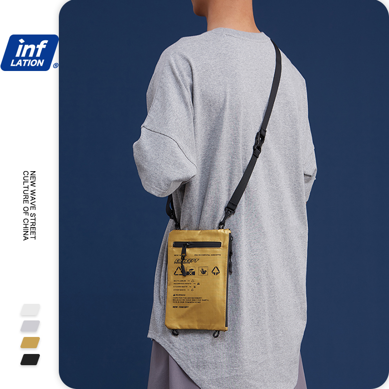 INFLATION BRAND Unisex Gold Mini Soft Crossbody Bag Letter Printed Streetwear Zipper Pocket Phone Pouch Messenger Bag 232AI2019