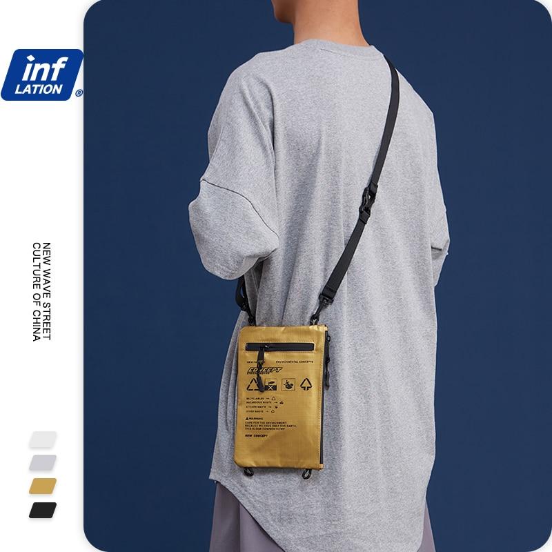 INFLATION BRAND Unisex Gold Mini Soft Crossbody Bag Letter Printed Streetwear Zipper Pocket Phone Pouch Messenger Bag 232AI2019