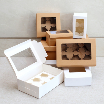 10Pcs Kraft Paper Cupcake Packing Box with Window Cardboard Cake Muffin Cookies Candy Box Wedding Party Birthday Favors 4 Sizes