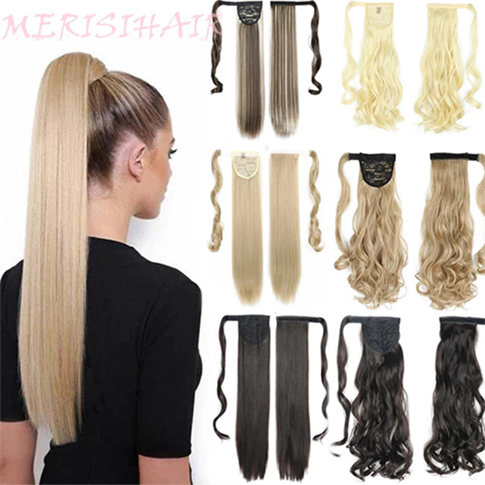 Hair-Extension Ponytail Fake-Hair Straight-Wrap Heat-Resistant Clip-In Long Synthetic