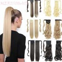 MERISIHAIR-Extensión de cabello sintético, cabello largo, cola de caballo, liso, resistente al calor, con gancho para colocar