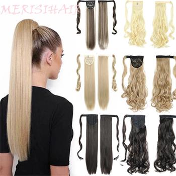 MERISIHAIR-syntetyczne długie proste włosy owinięte wokół klipsa sztuczne włosy koński ogon kucyk odporne na ciepło tanie i dobre opinie CN (pochodzenie) 100 g sztuka Wysokiej Temperatury Włókna Pure color 1 sztuka tylko