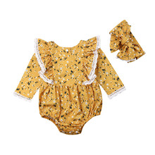 Cute Newborn Baby Girls Floral Lace Floral Spring Summer Autumn Ruffle Long Sleeve Bodysuit Jumpsuit With Bow-knot Headband