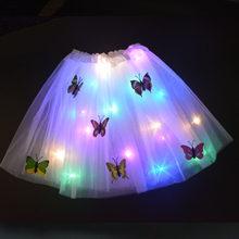 Falda LED con luz de mariposa brillante, Fiesta de Luces de flores para tutú, decoración para el hogar, cumpleaños, boda, regalo de Pascua, ropa para niña de 2 a 8 años