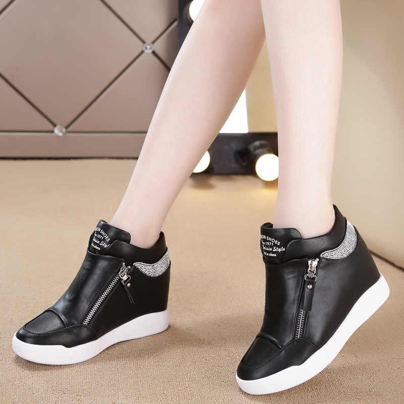 Giày Nữ Giày Nữ Da PU Tăng Chiều Cao Giày Nữ Cao Gót Trắng Bling Dây Kéo Nền Tảng Wedge Sneaker Nữ Giày