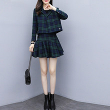 Two Piece Set Plaid Dress Suit for Women Short Jacket and Pleated Skirt FD01