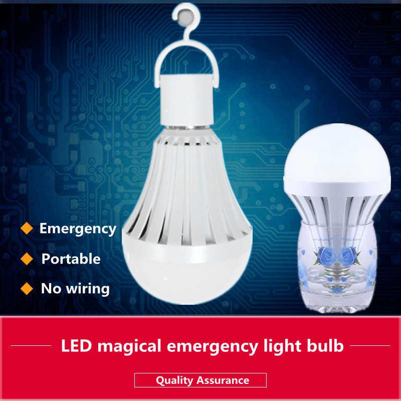 LED de alta potencia bombilla de luz E27 5W 7W 9W 12W 15W 85-265V lámpara de emergencia recargable portátil para habitación de Camping blanco frío