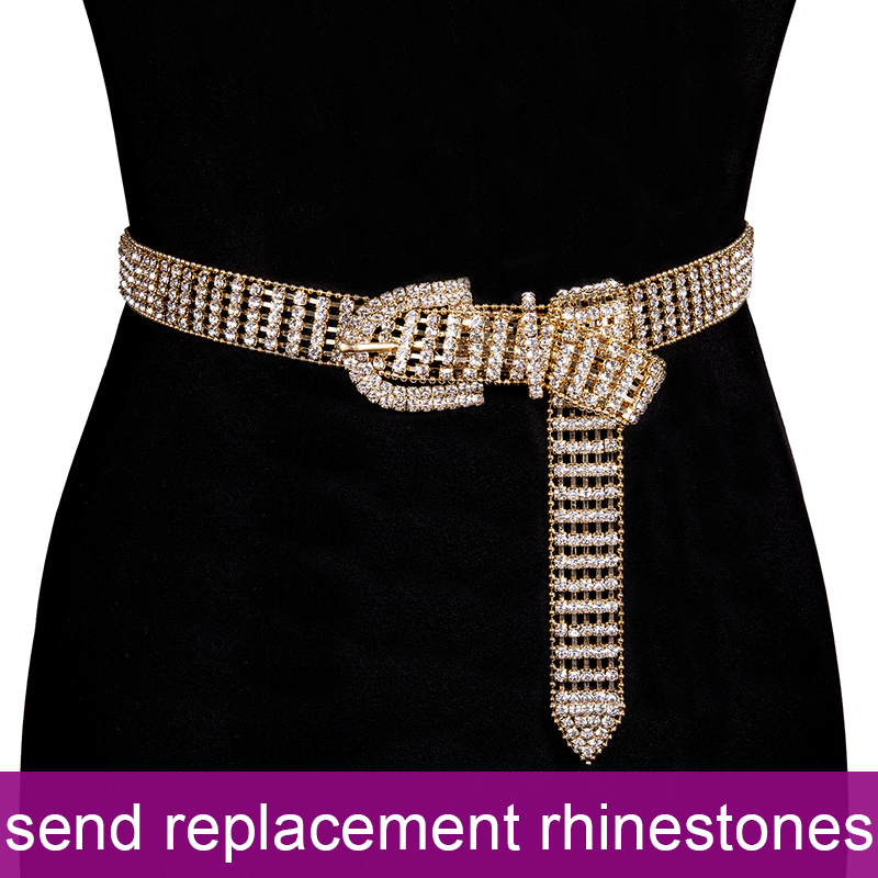 105cm Luxury Women's Shiny Full-Rhinestone Belt Gold Female Bright Bride Wide Bling Crystal Diamond Waist Chain Belt For Women