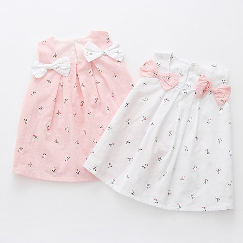 Toddler Princess Party Dress Kid Baby Girls Solid Bow Print Floral Suspender Comfortable Roupa Infantil Menina Lively платье