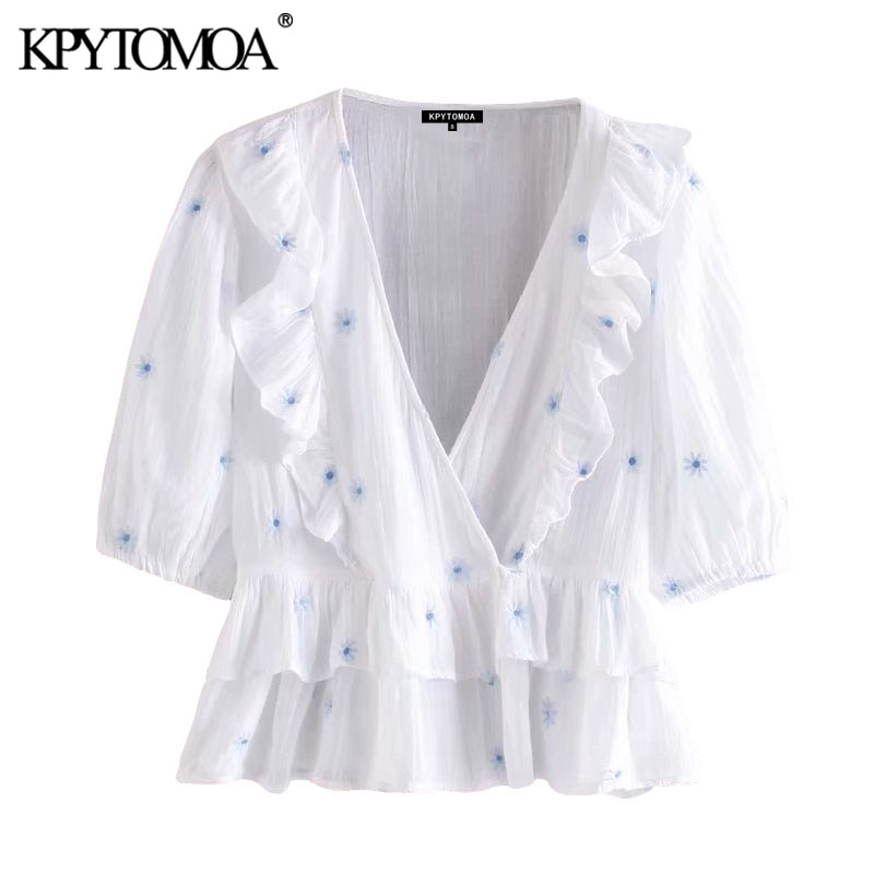 KPYTOMOA Women 2020 Sweet Fashion Floral Embroidery Ruffled Blouses Vintage V Neck Short Sleeve Female Shirts Blusas Chic Tops