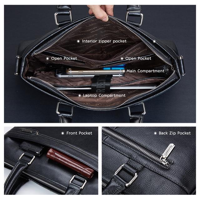 Laorentou couro genuíno dos homens maleta de negócios portátil bolsas masculino crossbody bolsa de ombro couro vaca notebook pastas 6