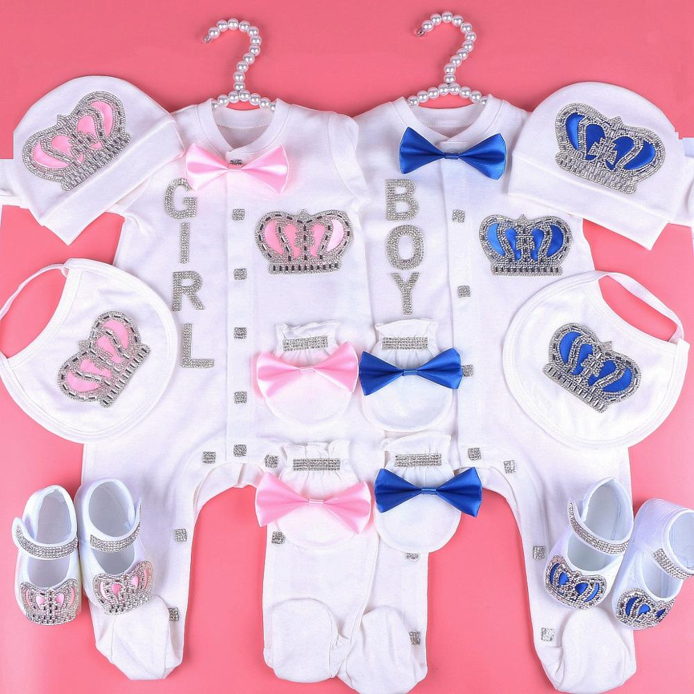 0-6 Month Baby Girl Clothes Custom Name Infant Baby Bodysuits Clothing Set Newborn Baby Clothes rhinestone crown Pajama Jumpsuit image