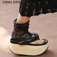 New Summer Women Sandals Muffin Platform Flip flops Thick soled Herringbone Sandals Chic Women Shoes Fashion Street Looks