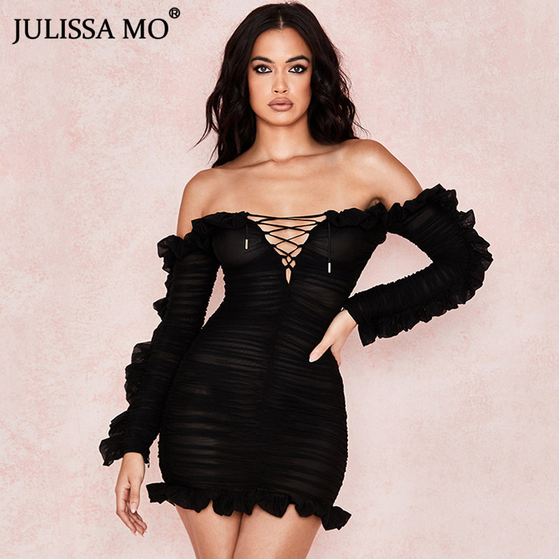JULISSA MO Double Layers Mesh Bodycon Summer Dress Sexy Off Shoulder Ruffles Sleeve Dress Women Female Black Short Party Dresses