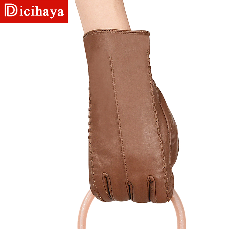 DICIHAYA Top Gloves Women Genuine Leather Winter Sensory Tactical Gloves Fashion Wrist Touch Screen Drive Autumn Good Quality
