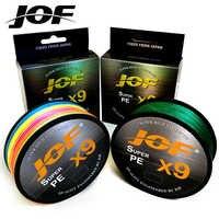 JOF X9 500M 300M 100M Intrecciato la Linea di Pesca 9 Fili Multicolore Multifilamento Acqua Salata PE Linea 20 24 35 40 50 65 80LB