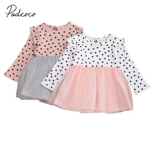 Baby Girls Stylish Dress Long Sleeve Princess Dress One-Piece for Girls Spring Autumn Hearts Print Dress Ribbed Gown 0-24M