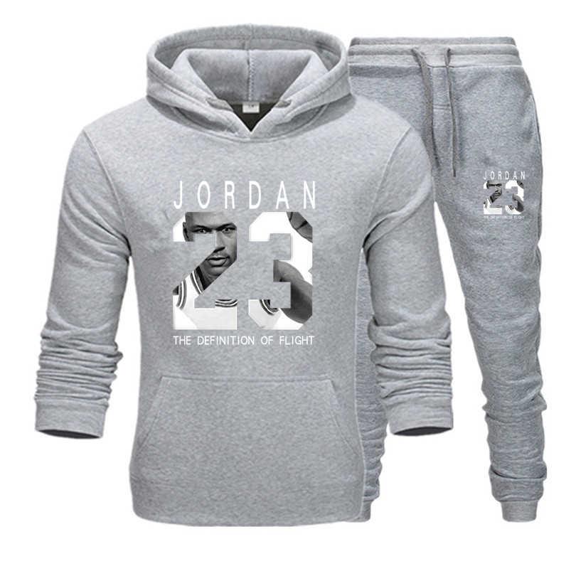 23 JORDAN sonbahar kış sıcak satış erkek setleri Hoodie + pantolon 2 adet setleri rahat eşofman erkek spor spor salonları spor Sweatpants