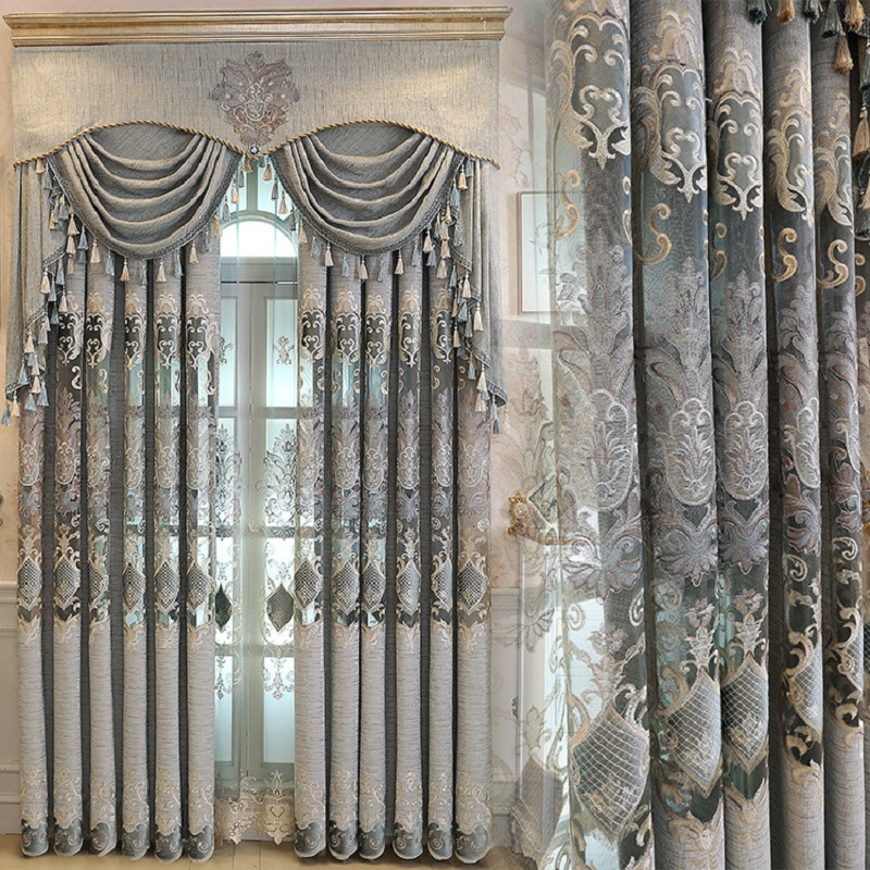 New European Luxury Gray Curtains For Living Dining Room Bedroom Fabric Chenille Embroidery Valance Curtain Fabric Custom