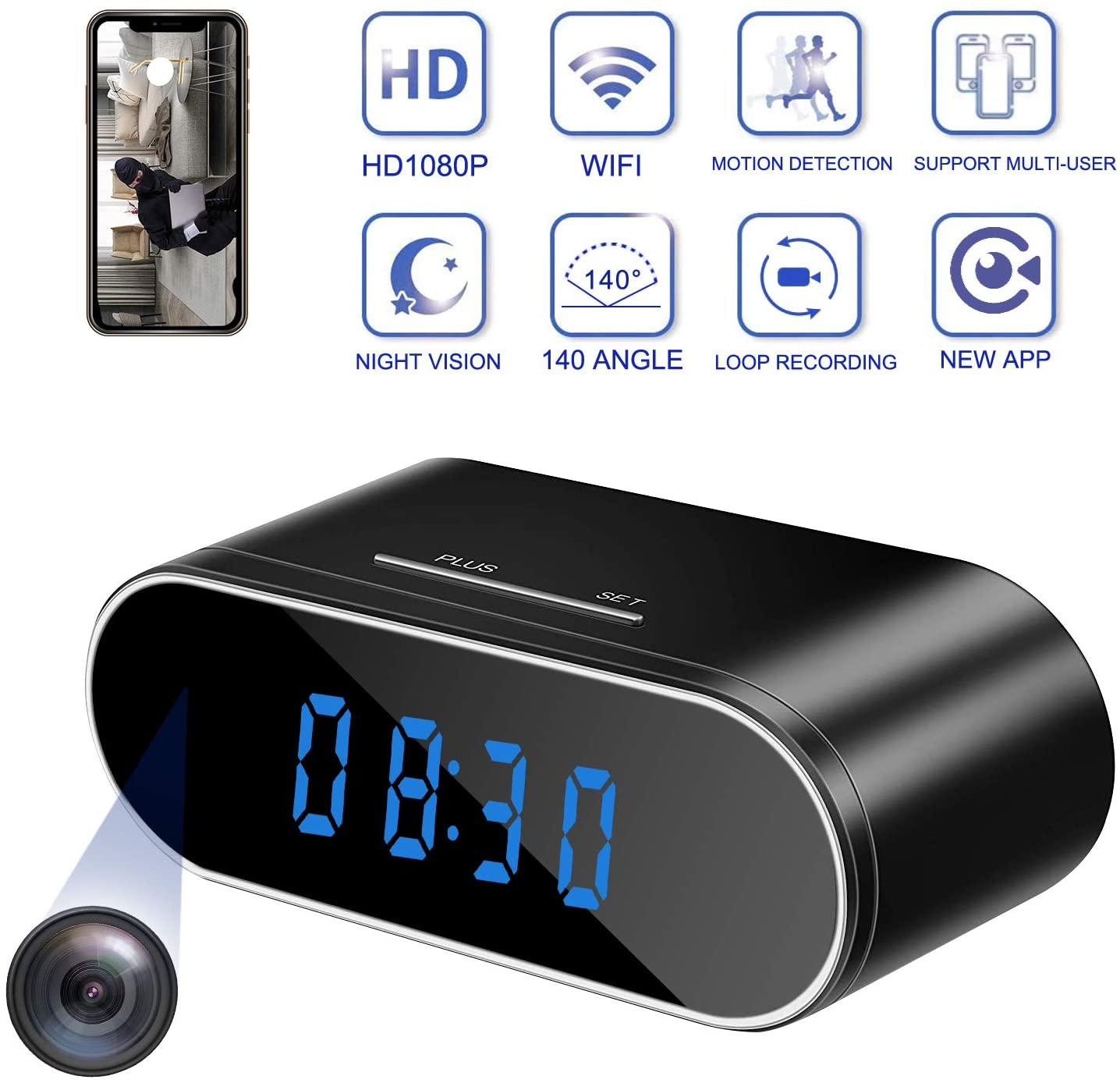EVKVO – Caméra-réveil HD 1080P, contrôle WIFI, IR dissimulée, modèle PK Z10, horloge numérique mini DV DVR
