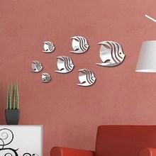 1 Set 7PCS 3D Fish Wall Stickers DIY PMMA Mirror Sticker for Living Room Bedroom Decorative Backdrop Fish Stick Decals New