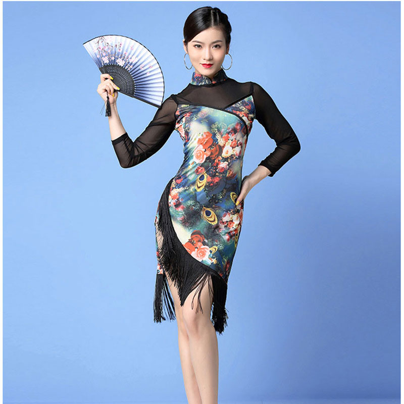 Women Dance Wear Ballroom Dress Samba Costume Sexy Party Dresses Sheer Mesh Stretchy One-Piece Latin Dress Rose