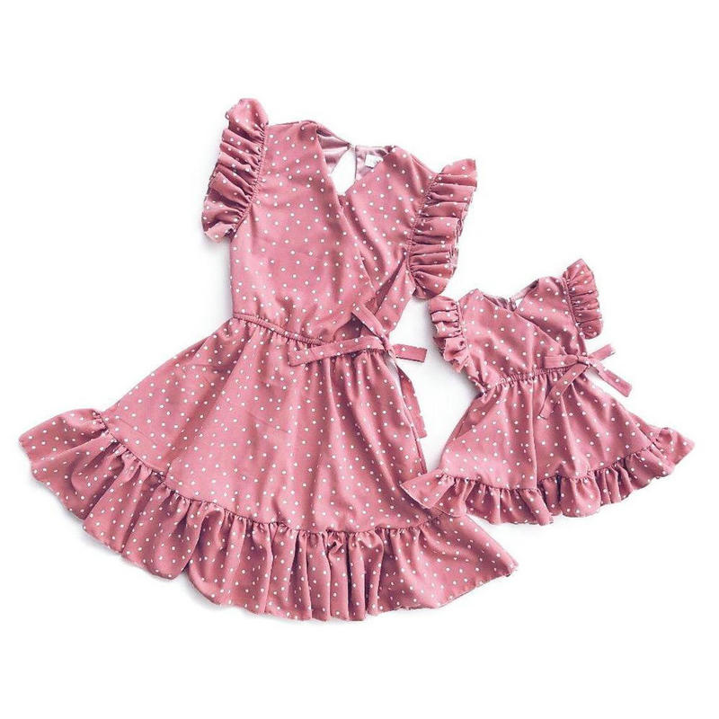 2020 Summer Momy And Daughter Matching Clothes Dot Pink Family Look Dress Outfits Sleeveless Princess Mom Baby Girl Wedding 2-8Y