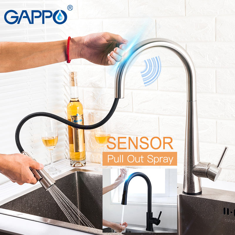 GAPPO Smart Sensor Touch Control Kitchen Faucets GOLDEN Stainless Steel Mixer Gold Touch Faucet For Kitchen Pull Out Sink Taps